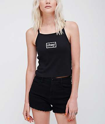 Obey Typewriter Black Tank Top