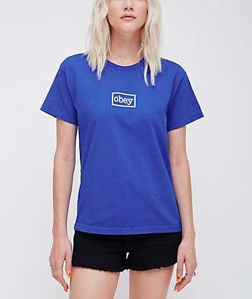 Obey Typewriter Custom Royal Blue T-Shirt