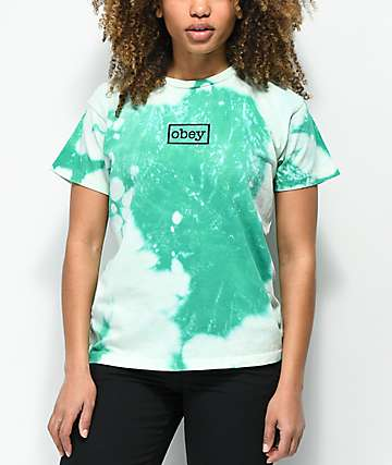 Obey Typewriter Teal Bleach T-Shirt