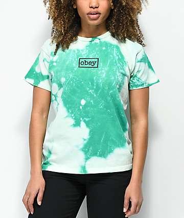 Obey Typewriter camiseta en verde azulado blanqueado