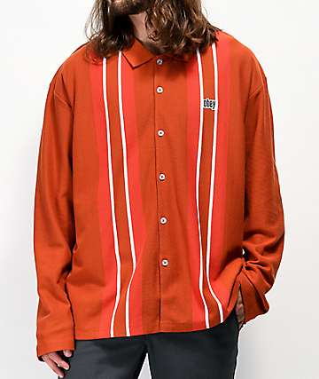 Obey United Classic Red Long Sleeve Polo Shirt