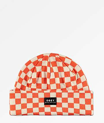 Obey Vernon Orange & White Checkered Beanie