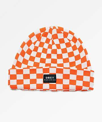 Obey Vernon Orange & White Check Beanie