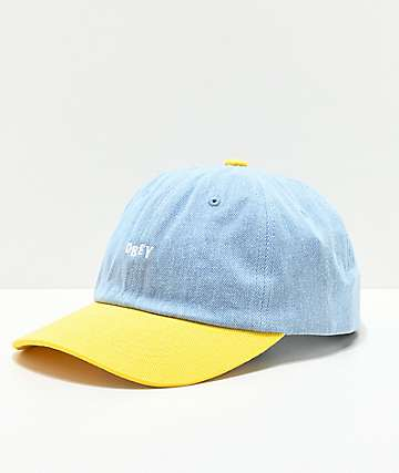 Obey Warlow Light Blue Denim & Yellow Snapback Hat