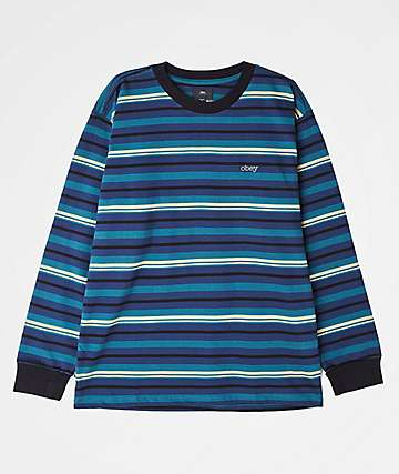 Obey Waterfall Blue Striped Sweater