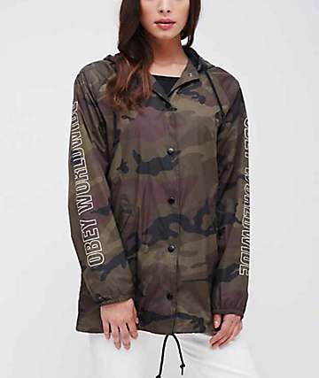 Obey Worldwide Outline Camo Hooded Coaches Jacket