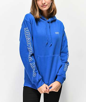 Obey Worldwide Outline Royal Blue Hoodie