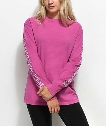 Obey Worldwide Raspberry Long Sleeve T-Shirt