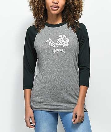 Obey camiseta de béisbol gris y esmeralda con flores