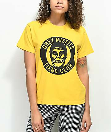 Obey x Misfits Fiend Club Yellow T-Shirt
