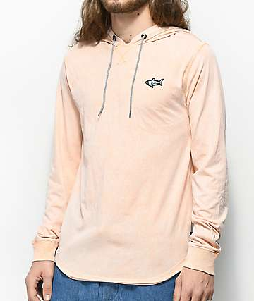 Ocean Current Calculated Peach Hooded Long Sleeve Shirt