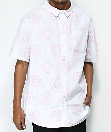 Odd Future All Over Donut White Button Up Short Sleeve Shirt