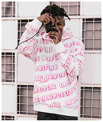 Odd Future All Over White & Pink Hoodie