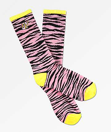 Odd Future Allover Zebra Pink & Black Crew Socks