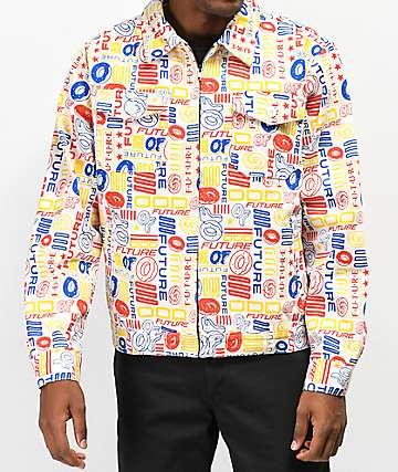 Odd Future Allover chaqueta de sarga blanca
