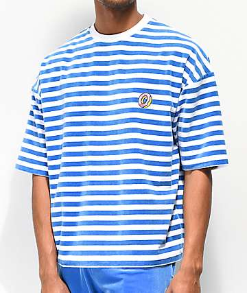 Odd Future Beach Stripe Blue & White Velour T-Shirt