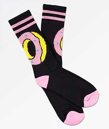 Odd Future Big O Black & Pink Stripe Crew Socks