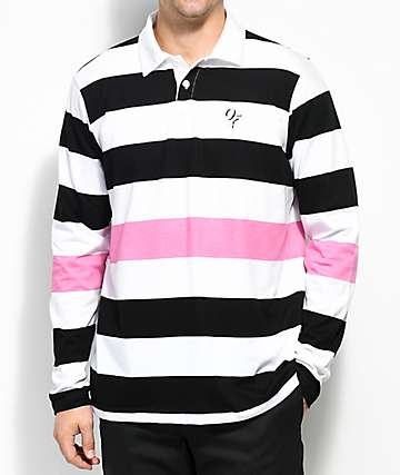 Odd Future Black, White & Pink Striped Long Sleeve Polo Shirt
