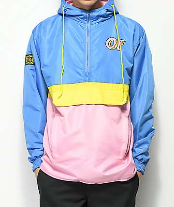 Odd Future Blue, Pink & Yellow Colorblock Anorak Jacket