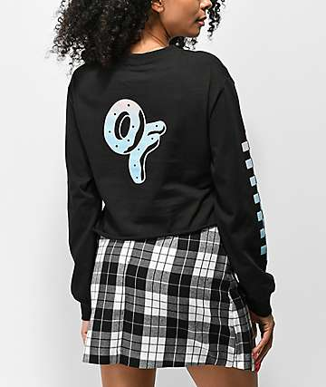 Odd Future Checkered Ombre Black Crop Long Sleeve T-Shirt