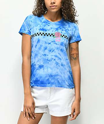 Odd Future Checkered Rose Blue Tie Dye T-Shirt