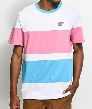 Odd Future Colorblocked camiseta a rayas en blanco, azul y rosa