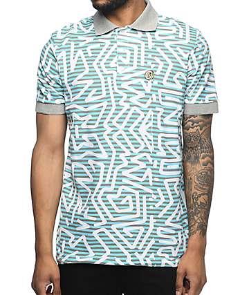 Odd Future Donut Aztec camiseta polo en gris y azul