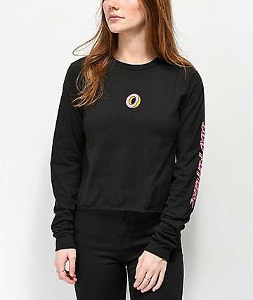 Odd Future Donut Black Crop Long Sleeve T-Shirt
