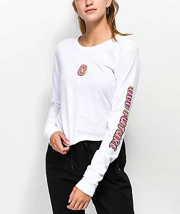Odd Future Donut Logo White Crop Long Sleeve T-Shirt