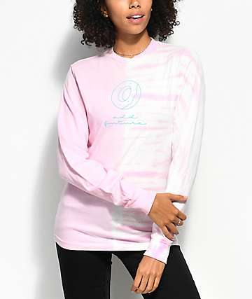 Odd Future Donut Split Pink Tie Dye Long Sleeve T-Shirt