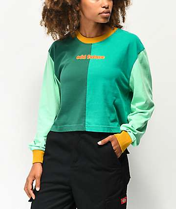 Odd Future Green Colorblock Long Sleeve Crop T-Shirt
