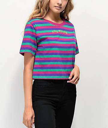 Odd Future Logo Pink, Purple & Green Stripe Crop T-Shirt
