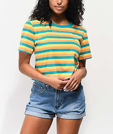 11f1c2b34a Odd Future Logo Teal, Gold & Orange Stripe Crop T-Shirt