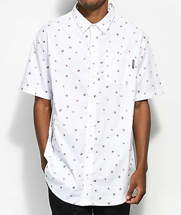 Odd Future Mini OF Print White Short Sleeve Button Up Shirt