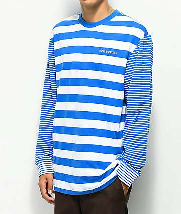 Odd Future Multi Stipe Blue & White Long Sleeve T-Shirt