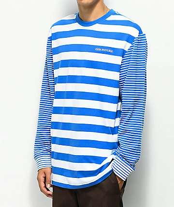 Odd Future Multi Stipe Blue & White Long Sleeve T-Shirt