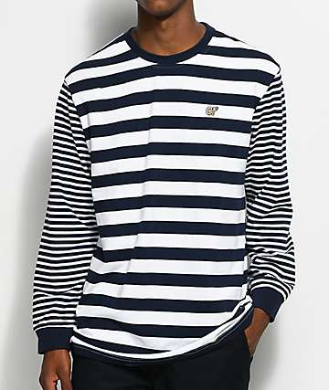Odd Future Navy Multi-Striped Long Sleeve Knit T-Shirt