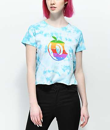 Odd Future Rainbow Stripe Donut Blue Tie Dye Crop T-Shirt