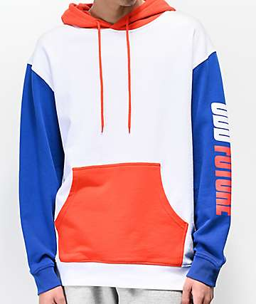 Odd Future Red, White & Blue Colorblock Moto Hoodie