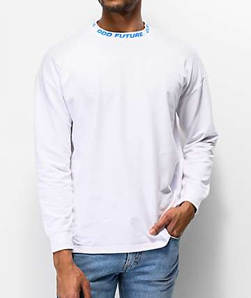 Odd Future Ribbed Mock Neck White Long Sleeve T-Shirt