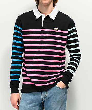 Odd Future Rugby Multicolor Striped Black Long Sleeve Shirt