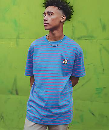Odd Future Skinny Blue & Pink Striped Knit T-Shirt