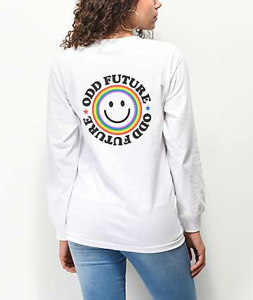 Odd Future Smile Face White Long Sleeve T-Shirt