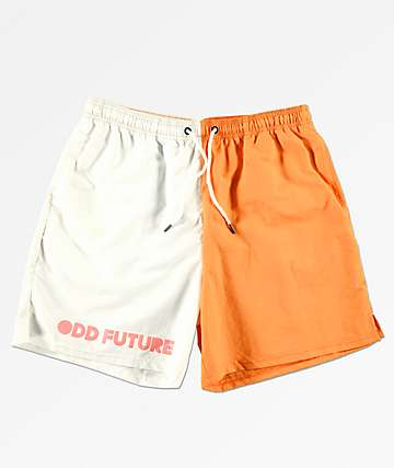 ddb6b3e36d Odd Future Split Orange & White Elastic Waist Board Shorts