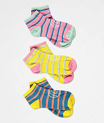 Odd Future Striped 3 Pack No Show Socks