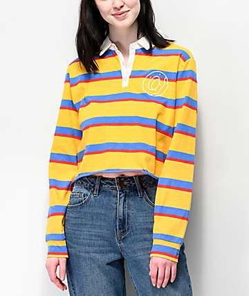 Odd Future Striped Crop Long Sleeve Polo Shirt