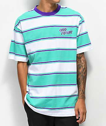 Odd Future Teal, Purple & White Stripe T-Shirt