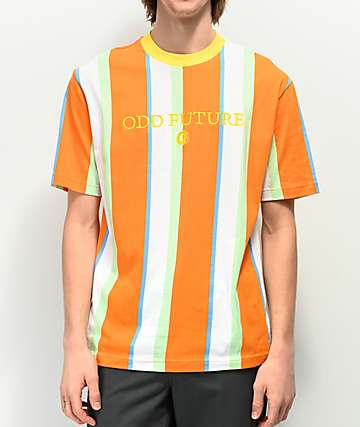 761b64c13fa1 Odd Future Vertical Stripe White   Orange T-Shirt