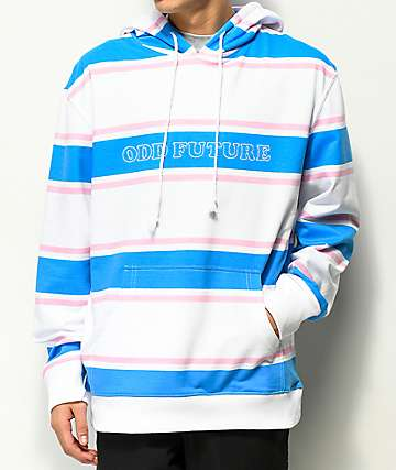 Odd Future White, Blue & Pink Striped Hoodie