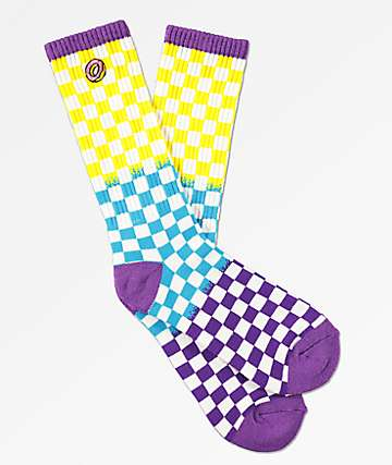 Odd Future Yellow, Blue & Purple Checkered Crew Socks